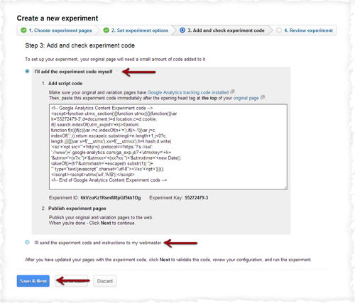 Google Add and Check Experiment Code