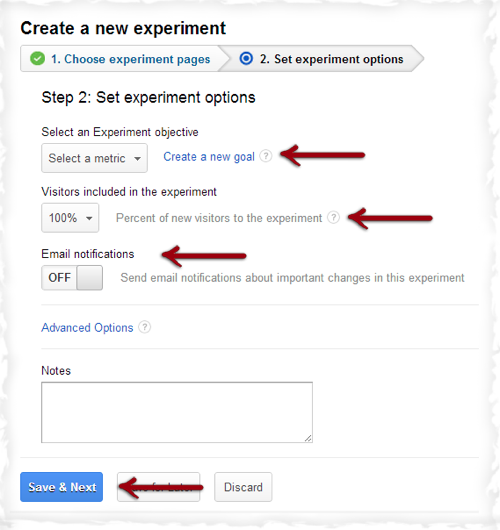 Google Set Experiment Options