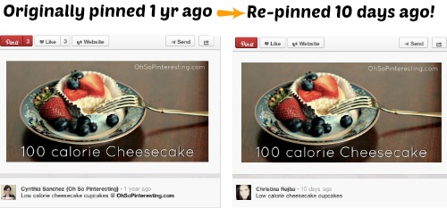 Pinterest pin re-pinned 1 year after original pin