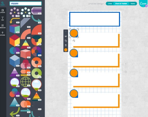 Use free graphic elements from Canva for easy infographic design