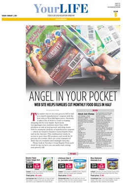 SavingsAngel.com featured in the business section of the Grand Rapids Press