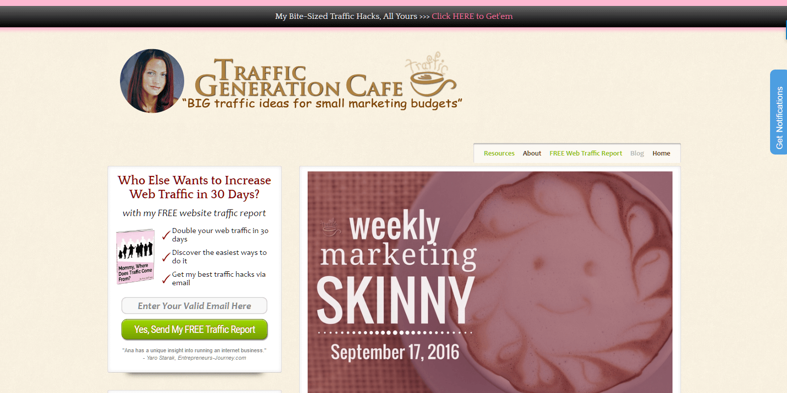 Ana's blog: Traffic Generation Cafe