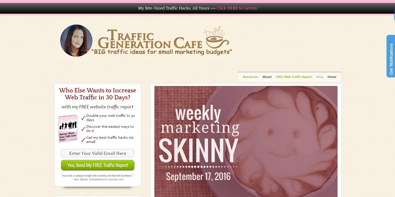 Ana's blog: Traffic Generation Cafe