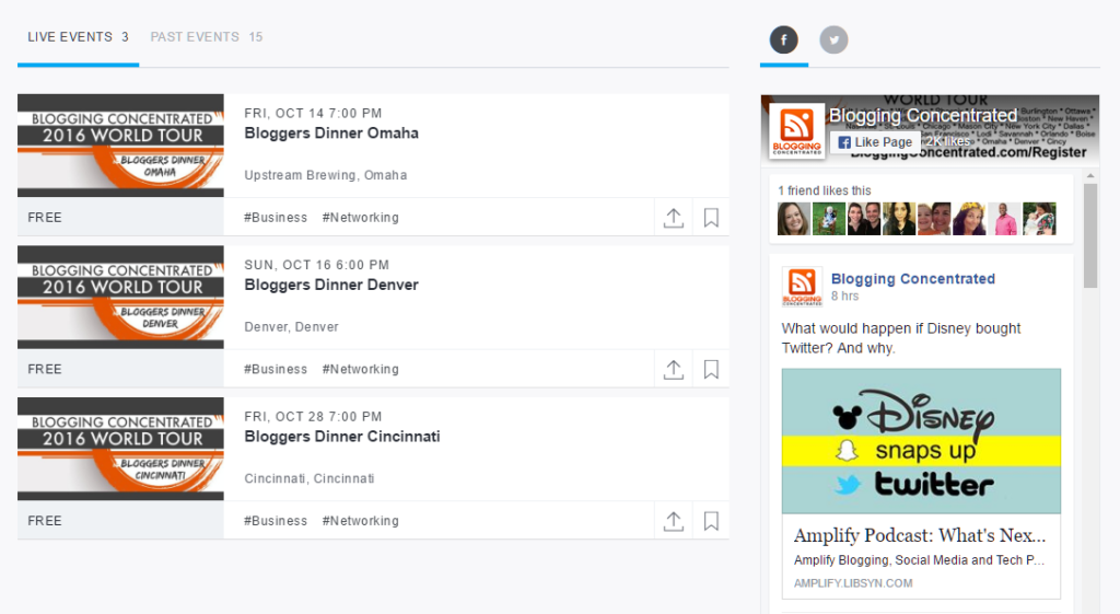Blogging Concentrated Events on EventBrite