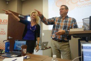 Rachel and Dan in one of their earlier workshops