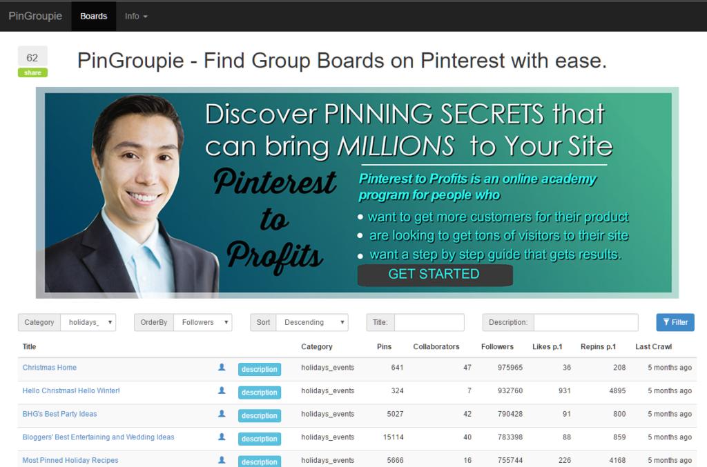 PinGroupie Filter