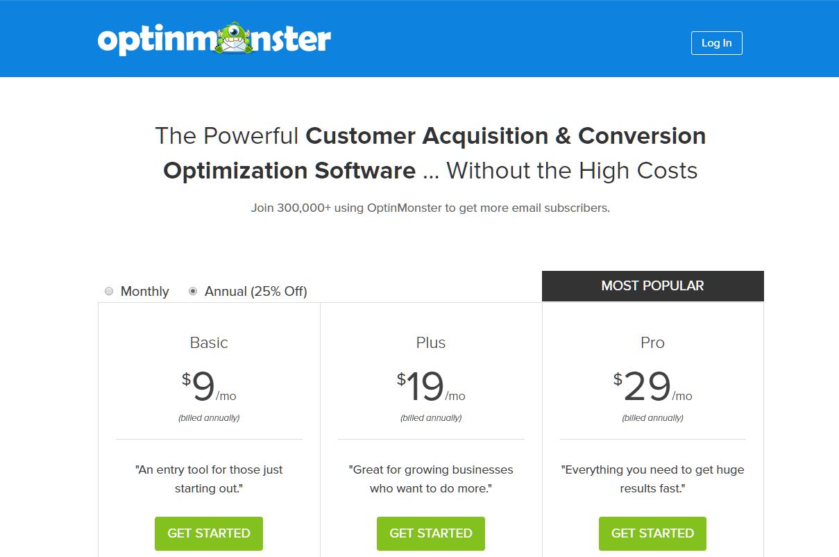 Optin Monster Pricing Options