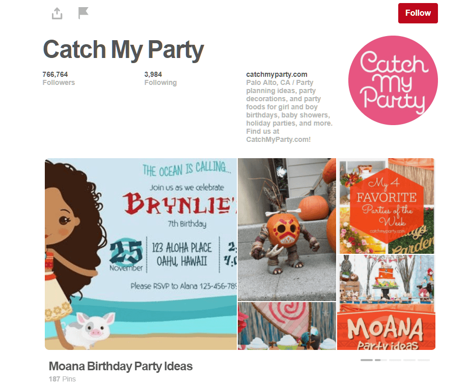 Catch My Party Pinterest