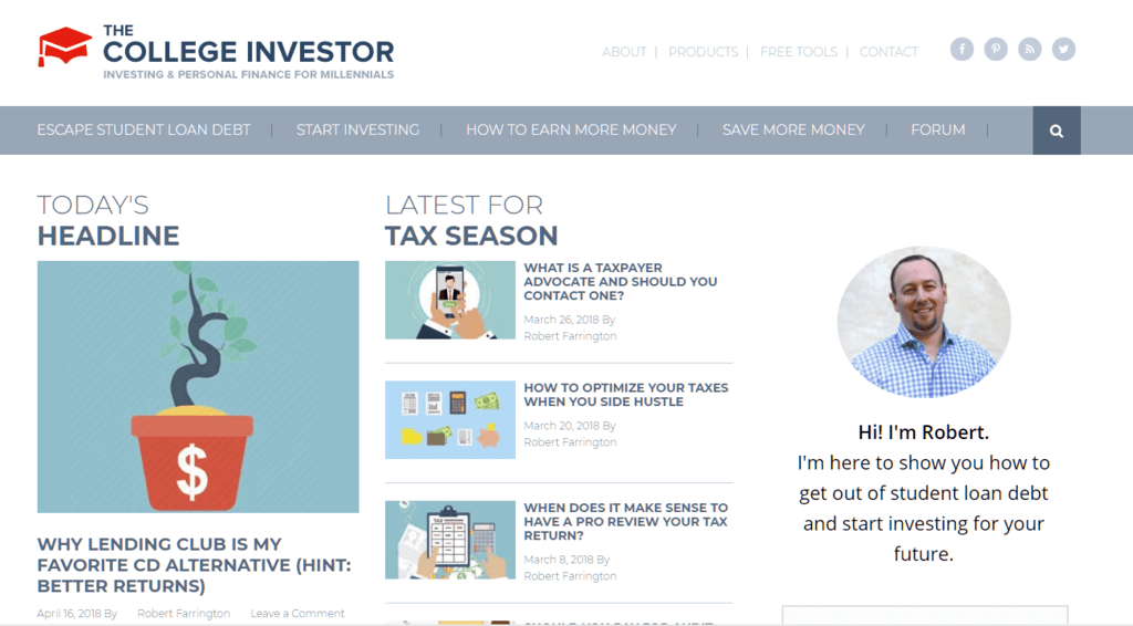 The College Investor, Robert's Blog