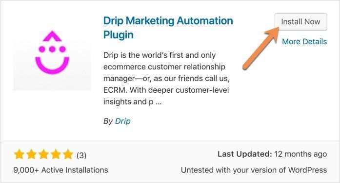 Installed Drip Marketing Automation Plugin