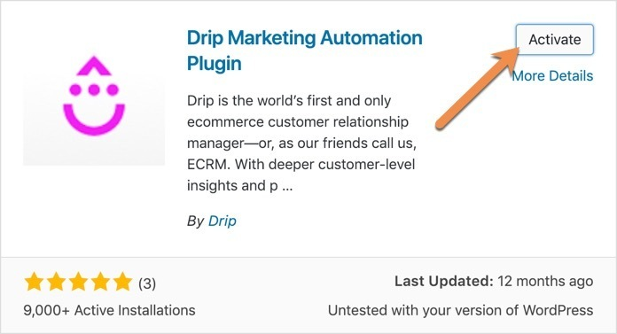 Activate Drip Marketing Automation Plugin