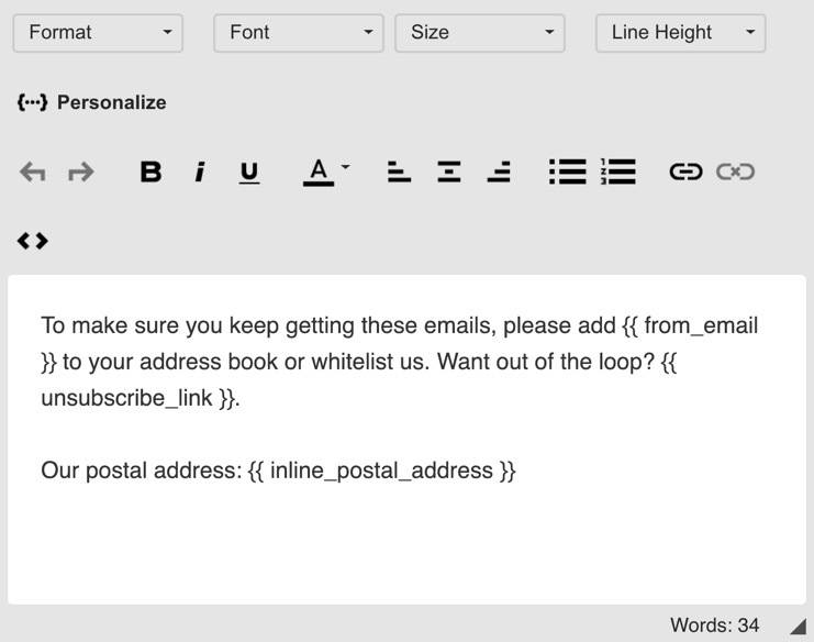 Drip Email Footer