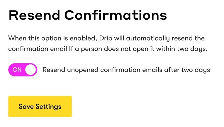 Drip Resend Confirmations