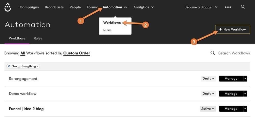 Create Drip Workflow