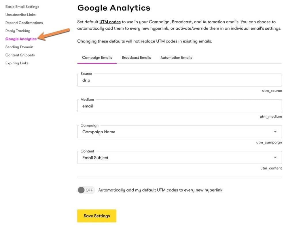Drip - Google Analytics Settings