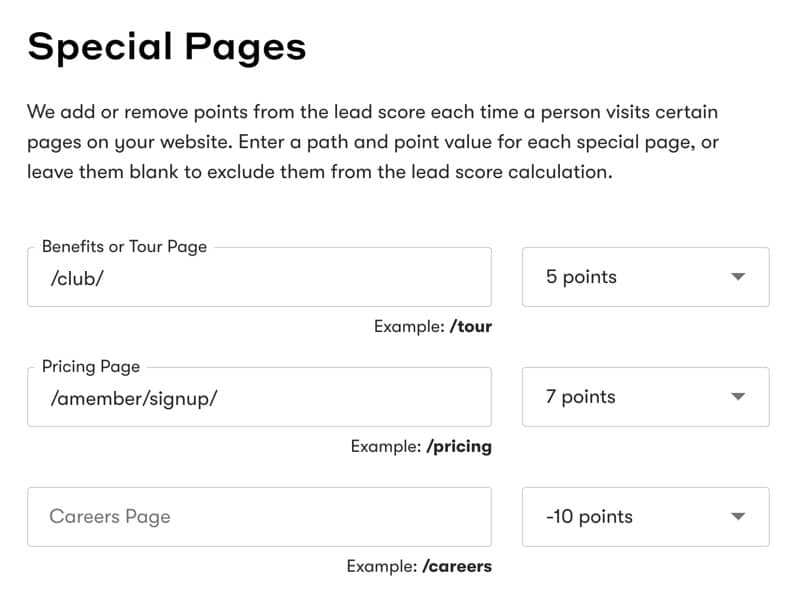 Drip Lead Score Special Pages