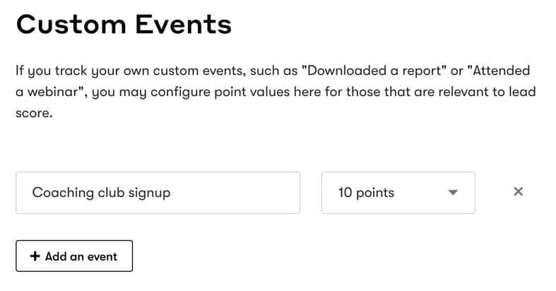 Drip Lead Scoring Custom Events